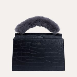 Olivia Handbag Black Matt Croc