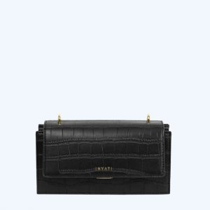 Rosina Handbag Black Matt Croco