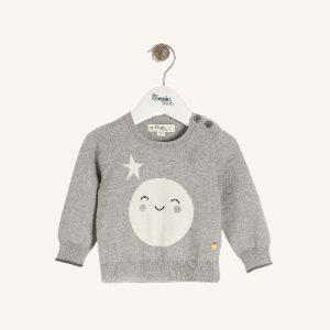 Moonlight Moon Intarsia Sweater Grey