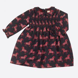 Smock Peter Pan Collar Dress Horse Red