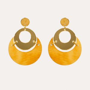 By Moonlight Earrings Mica and Gold Mirror