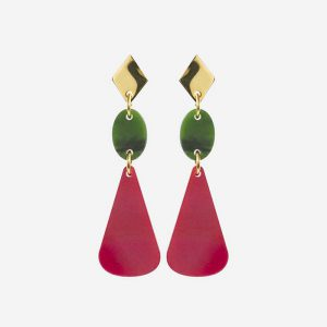 Chandelier Drops Cerise and Jade