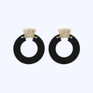 Petite Shift Hoops Black and Sandstone