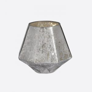 Silver Glass Candle Holder Large