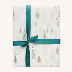 Gold and Silver Trees Christmas Gift Wrap