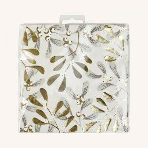 Gold Foil Mistletoe Napkins Pack