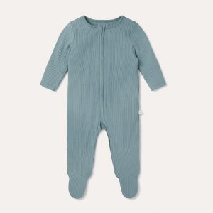 Zip-Up Sleepsuit Ribbed Sky Blue