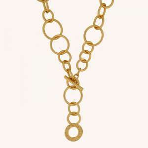 Amber Open T-Bar Necklace Gold