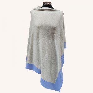 Hepburn Cashmere Poncho Light Grey/Denim