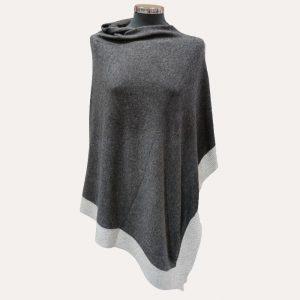 Hepburn Cashmere Poncho Charcoal/Light Grey