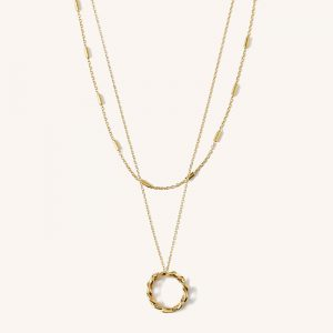 Chain Link Open Circle Double Layer Necklace Gold
