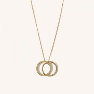 Rope Double Ring Necklace Gold