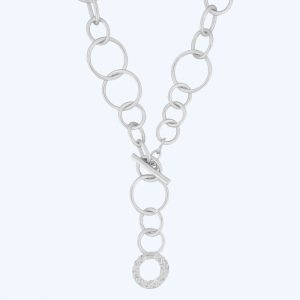 Amber Open T-Bar Necklace Silver
