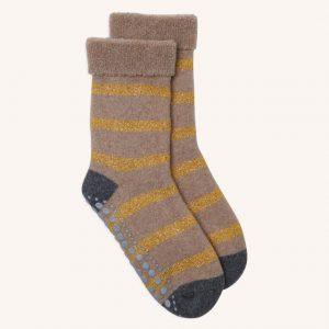 Glitter Stripe Slipper Socks Camel/Gold