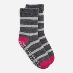 Glitter Stripe Slipper Socks Grey/Silver/Pink