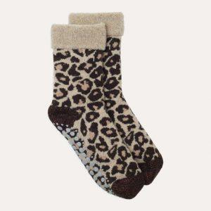 Leopard Slipper Socks Camel/Black