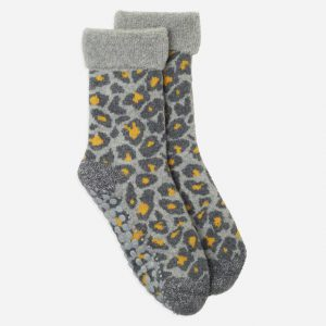 Leopard Slipper Socks Grey/Yellow