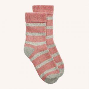 Glitter Stripe Slipper Socks Pale Pink/Silver