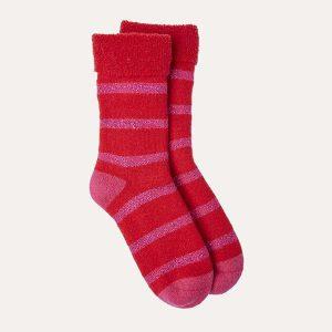 Glitter Stripe Slipper Socks Red/Pink