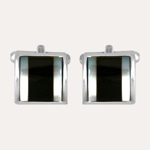 Onyx & Mother of Pearl Curved Cufflinks