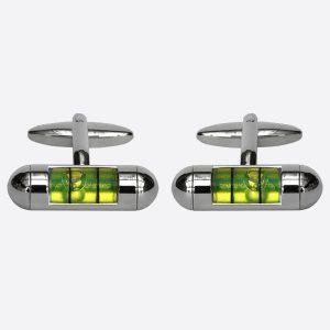 Spirit Level Green Cufflinks