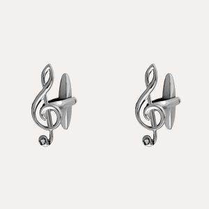 Treble Clef Cufflinks with Crystal