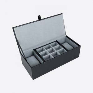 Watch & Cufflink Box Black Leatherette