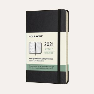 Pocket Weekly 2021 Diary Black Hard Cover