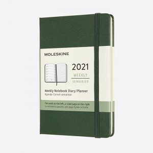 Pocket Weekly 2021 Diary Green Hard Cover
