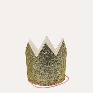Mini Gold Glittered Crowns Set
