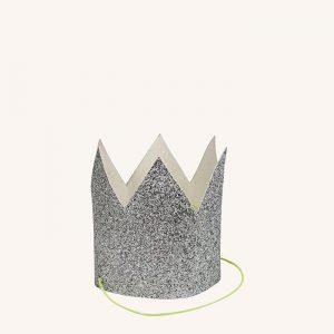 Mini Silver Glittered Crowns Pack