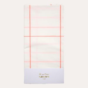 Coral Grid Party Tablecloth