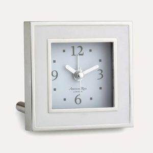 White Enamel Square Alarm Clock