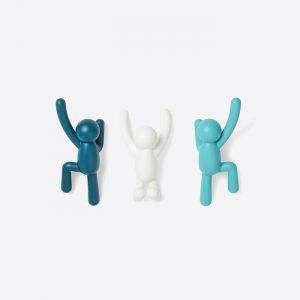 Buddy Wall Hooks Set Dual Blue Assorted