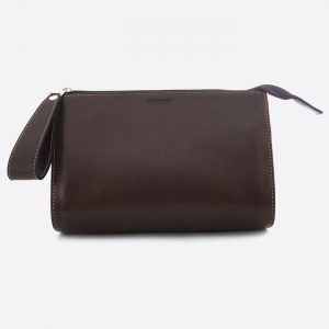 Leather Travel Wash Bag Chocolate