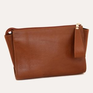 Leather Travel Wash Bag Tan