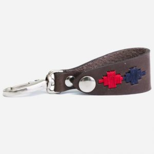 Leather Key Holder Navy/Red