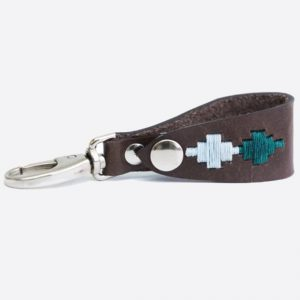 Leather Key Holder Green/Pale Blue