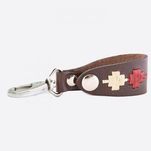 Leather Key Holder Burgundy/Cream