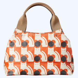 Poppy Cat Print Zip Shoulder Bag Persimmon
