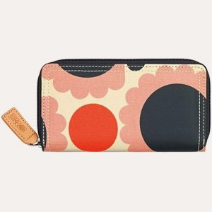Scallop Flower Spot Big Zip Wallet Blush