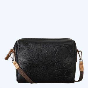Embossed Flower Stem Small Cross Body Black