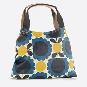 Scallop Flower Spot Classic Zip Shoulder Bag Denim
