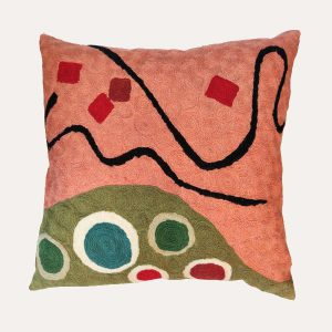 Abstract Crewel Cushion Coral/Green