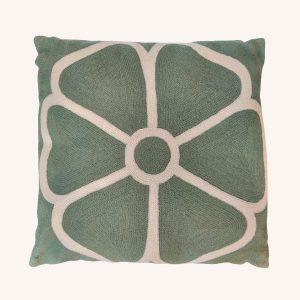 Daisy Outline Crewel Cushion Sage