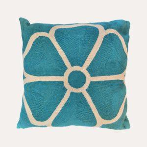 Daisy Outline Crewel Cushion Teal
