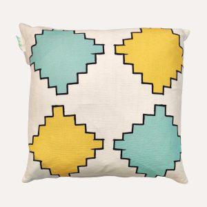 Aztec Diamonds Cushion Mint/Yellow