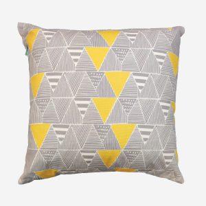 Zulu Huts Cushion Yellow/Grey