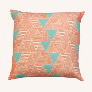 Zulu Huts Cushion Coral/Mint