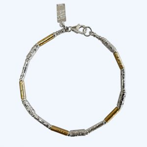 Textured Silver and Gold Bracelet